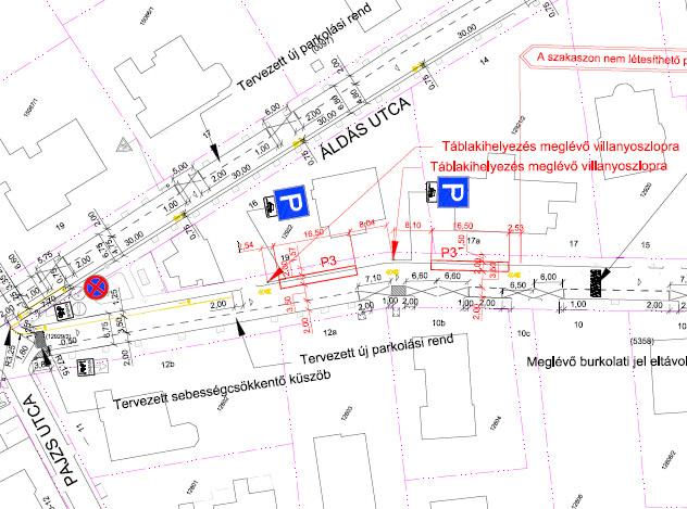 Eszter utca forgalomtechnikai helyszínrajza